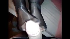 Gf doing footjob with Platino Cleancut pantyhose