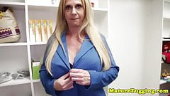 Busty milf beauty pulling hard cock pov