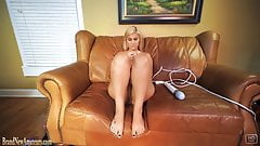 Blonde amateur gets herself off on a casting couch