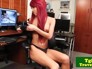 Preview 2 of Heeled redhead ladyboy jerking her hard cock