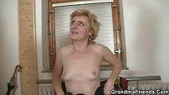 Oldie enjoys two cocks