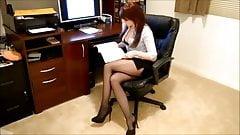 Sexy Office Secretary in Black Pantyhose 1