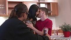 Brunette rides husband friend cock