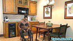Bigbooty ebony tgirl in lingerie tugging solo