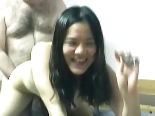 young asian colette rides hairy old man