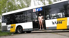 getting off a public bus completely naked