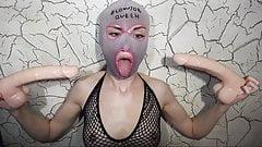 Deepthroat dildo gagging queen