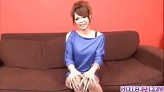 Rukia Mochizuki in mauve dress gets cumshot