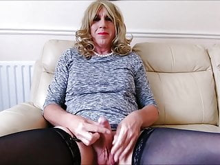Crossdressing for the day - Caged and plug - Big Spunk