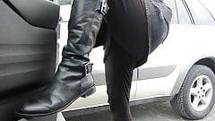 wearing leggings modeling my 2 buckle donald Pliner Boots
