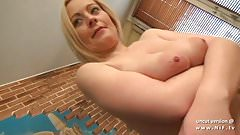 Naked couple woman holding cock