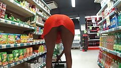 Walking naked and shopping