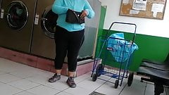 Mature latina at laundromat