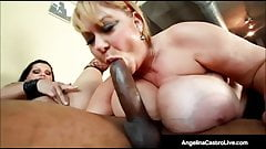 BBWs Angelina Castro & Sam 38G Fuck Big Black Cock