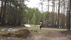 Velena - Nude walk along the road.