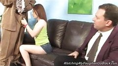 Redhead daughter Cameron Love go black in front of daddy