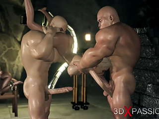 Girl captive gets fucked by big monsters in the dark dungeon