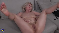 Mature mom Alma with saggy tits and hungry old cunt