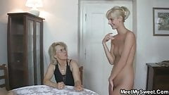 Her shaved pussy gets licked a