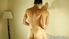 Young lad bends over in front of his lover and enjoys dick