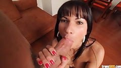 Latin shemale Anna gets monster cock