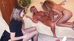 Lesbians teens try public group sex with milfs and toys