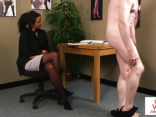 British office voyeur tells her sub to jerk