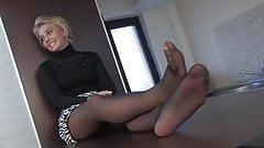 pantyhosed legs soles