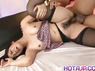 Kyoka Ishiguro topless and in stockings has hairy twat screw