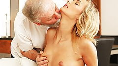 OLD4K. Mature guy penetrates beautiful wife in old and young's Thumb