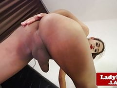 Asian tgirl babe jerks and unloads creamy cum