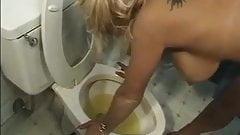 Toilet whore gets a rough pounding