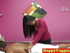 Asian handjob masseuse tugging guy until cum