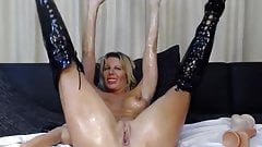 Horny Milf with very big dildo toying and squirting