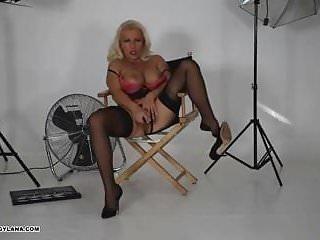 Hot busty Milf fucks her wet pussy in behind scenes movie