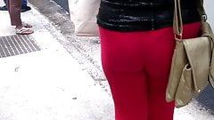 SDRUWS2 - SEE THROUGH RED LEGGINS AND VISIBLE THONG