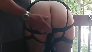 Wife's weekly spanking outside.