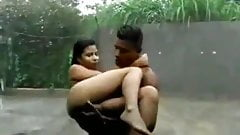 Srilankan school girl dominated by neighbor College boy