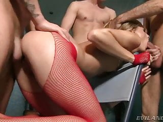 Hot gang bang Cayenne tight ass and mouth by three cocks