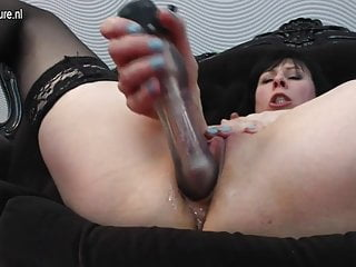 Horny housewife MOM playing with her pussy