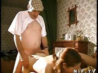 French young slut sodomized in threesome with Papy Voyeur