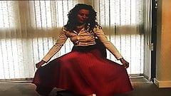 Office Girl In Full Circle Satin Skirt