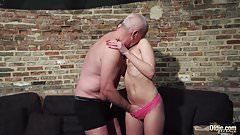 Grandpa gets his cock sucked and wet beautiful little girl