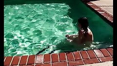young hairy teen shows all her body hair & goes for a swim