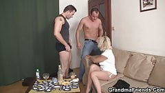 Sweet blonde granny double dicked