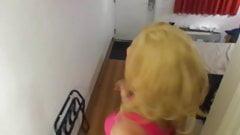 Cd Lexx in pink dress in motel