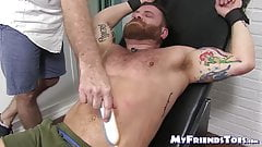 Bound hunky and bearded dude endures tickling torment