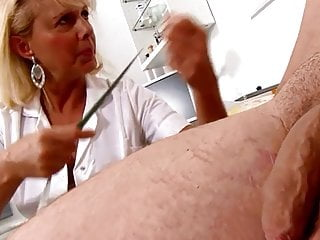 Erect info penis remember size - Mature blonde nurse measures patients penis soft and erect