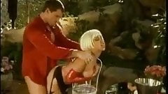Kinky Group sex in the courtyard