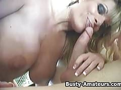Busty amateur Tera sucking and getting fucked